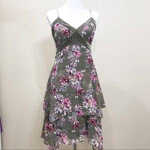 NWOT WHBM Olive Floral Asymmetrical Dress Size 6
